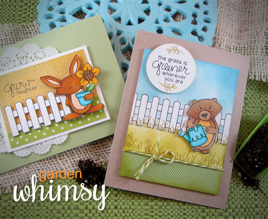 Garden Cards by Jennifer Jackson | Garden Whimsy | Garden Stamp Set by Newton's Nook Designs