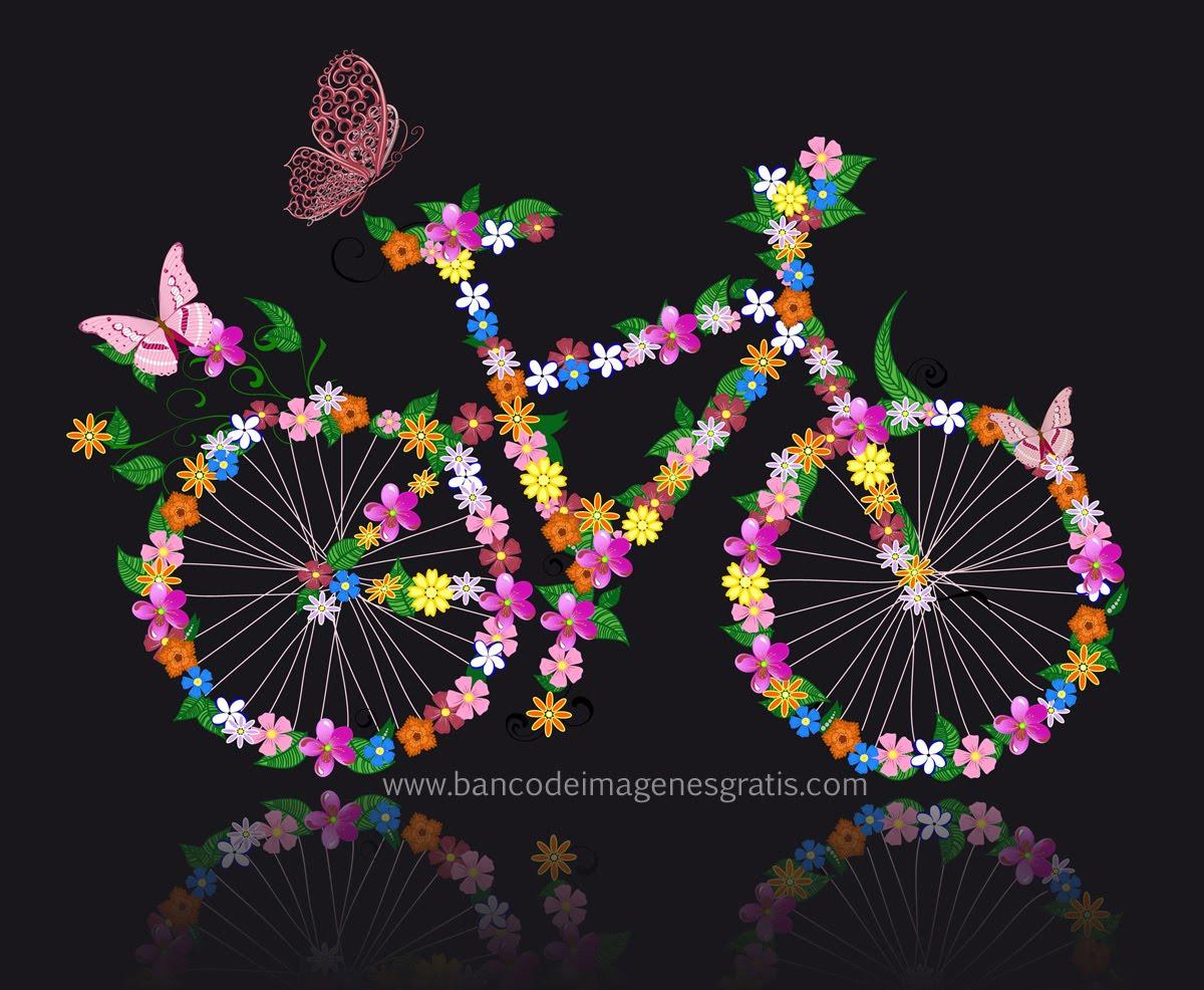 LA PRIMAVERA LLEGO¡!! Arte-art-bicicleta-con-flores-artwork-cycle-flowers-ilustracion-vectores