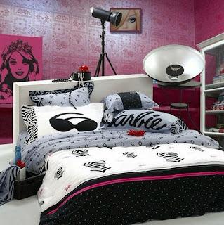 habitación para chica en rosa y negro