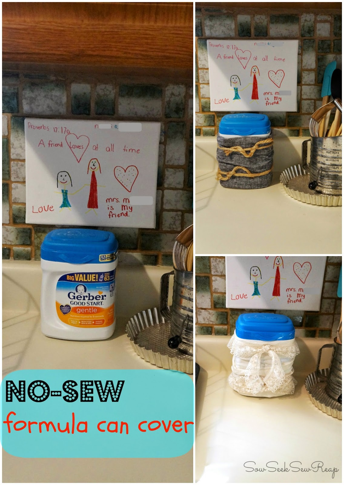 NO SEW CRAFTS, NO SEW CAN COVER, NO SEW BABY FORMULA COVER, RECYCLE FABRIC