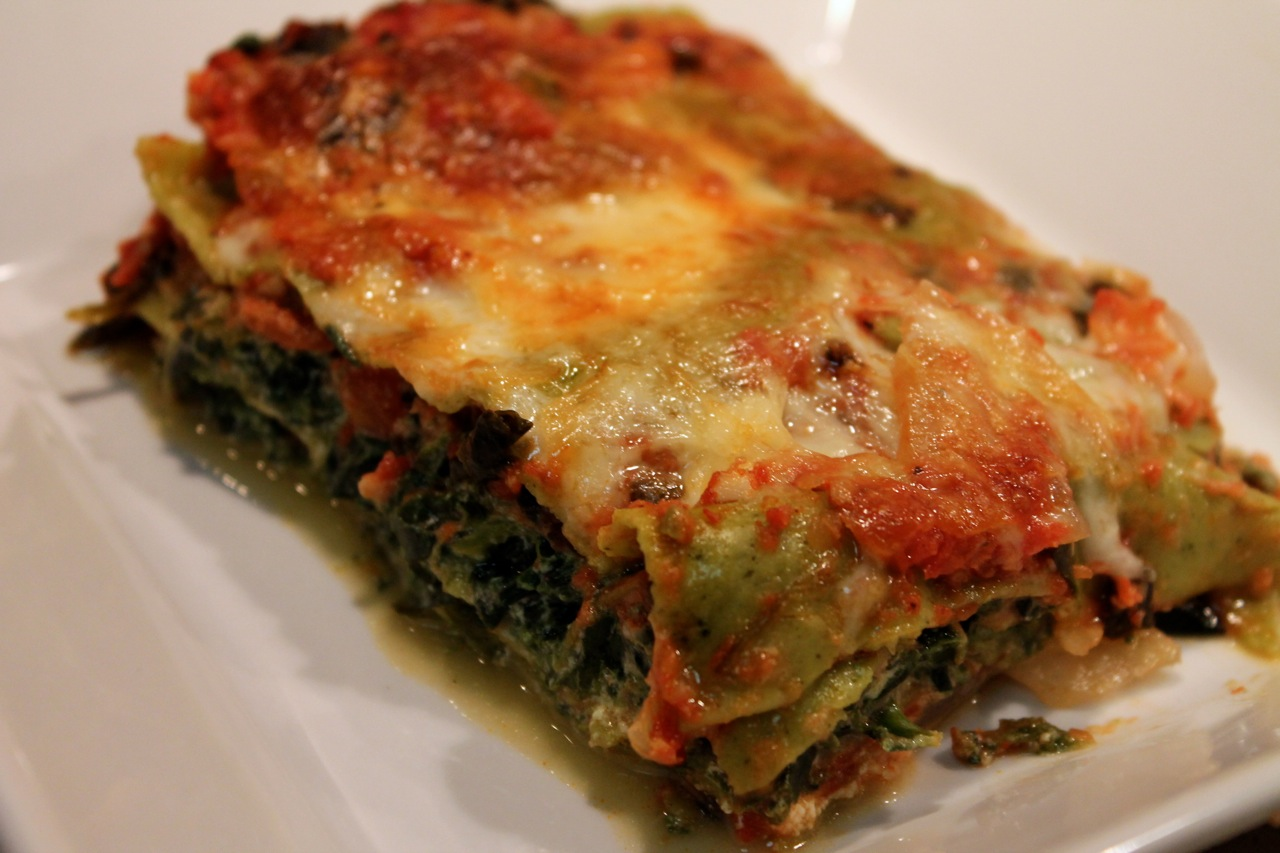 Cook In / Dine Out: Spinach-Tomato Lasagna with Sausage