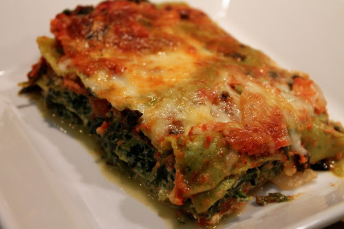 Spinach-Tomato Lasagna with Sausage