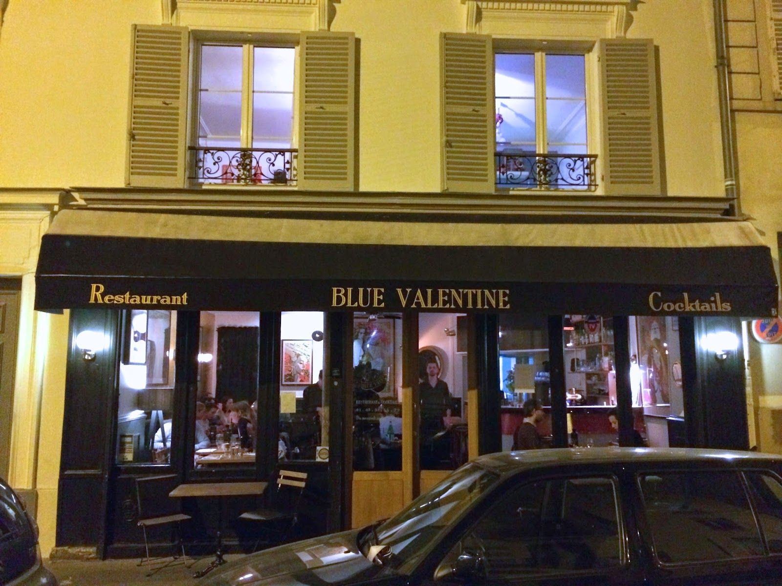 Not drinking poison in paris return to sender blue for Paris restaurant