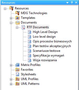 okno Resources lista definicji raportów RTF