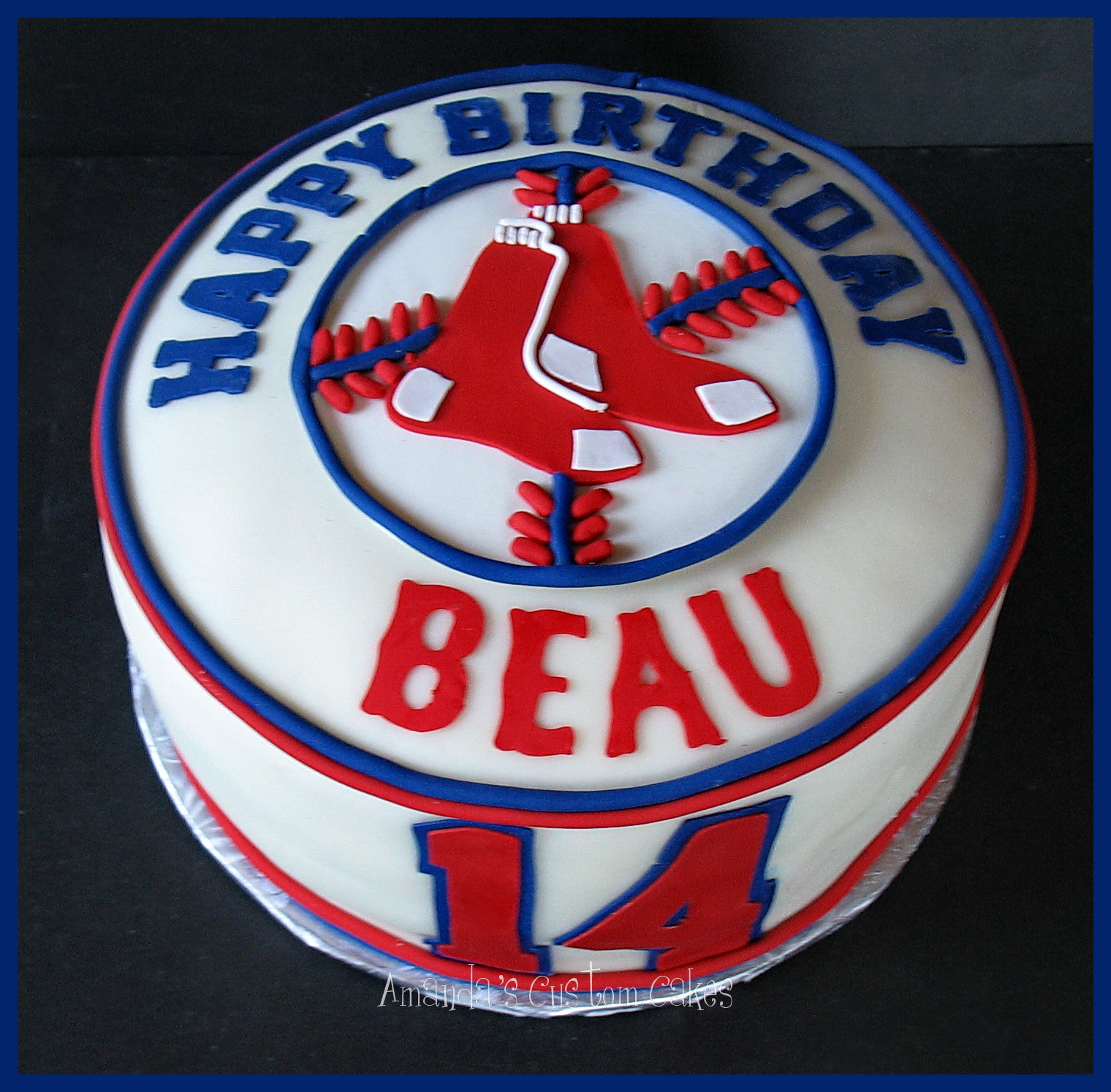 Red Sox Cake Images : Amanda s Custom Cakes: Boston Red Sox Cake
