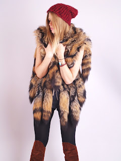 Vintage brown and black striped coyote tail fur gillet vest