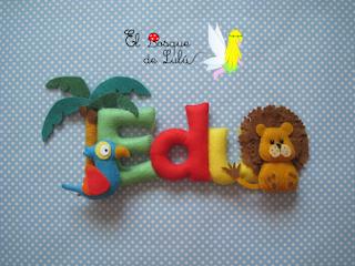 nombre-en-fielto-de-fieltro-animales-Edu-Eduardo-letrero-decorativo-infantil-hecho-a-mano-name-banner-letras-decoración