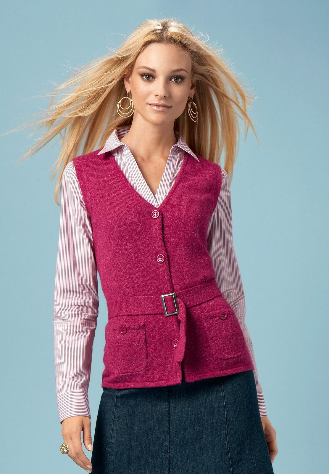 Women'S Argyle Sweater Vests - Cardigan With Buttons