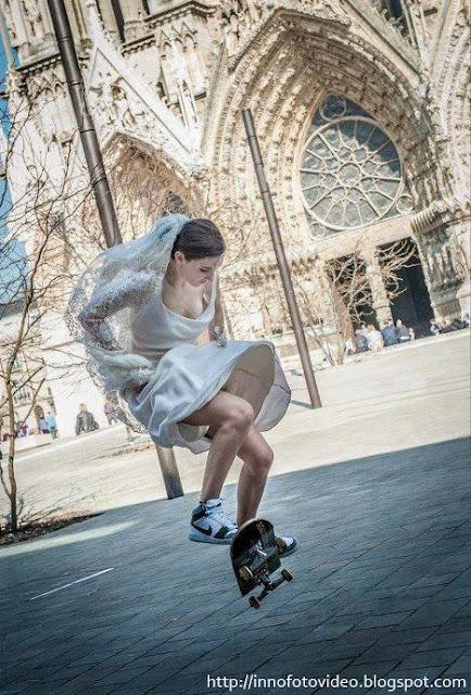 Skateboardis Pengantin Wanita