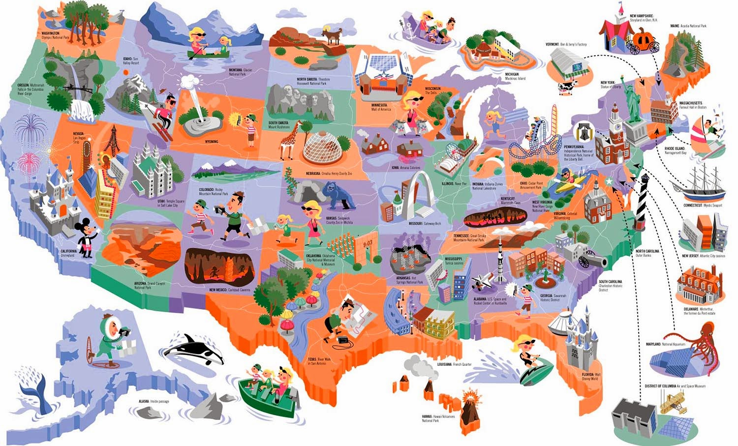 Zettwochs Suitcase Town Names In HGTV Magazine - Cartoon map of the us