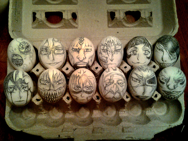 Skorupki jajek z malowanymi bohaterami anime Bleach