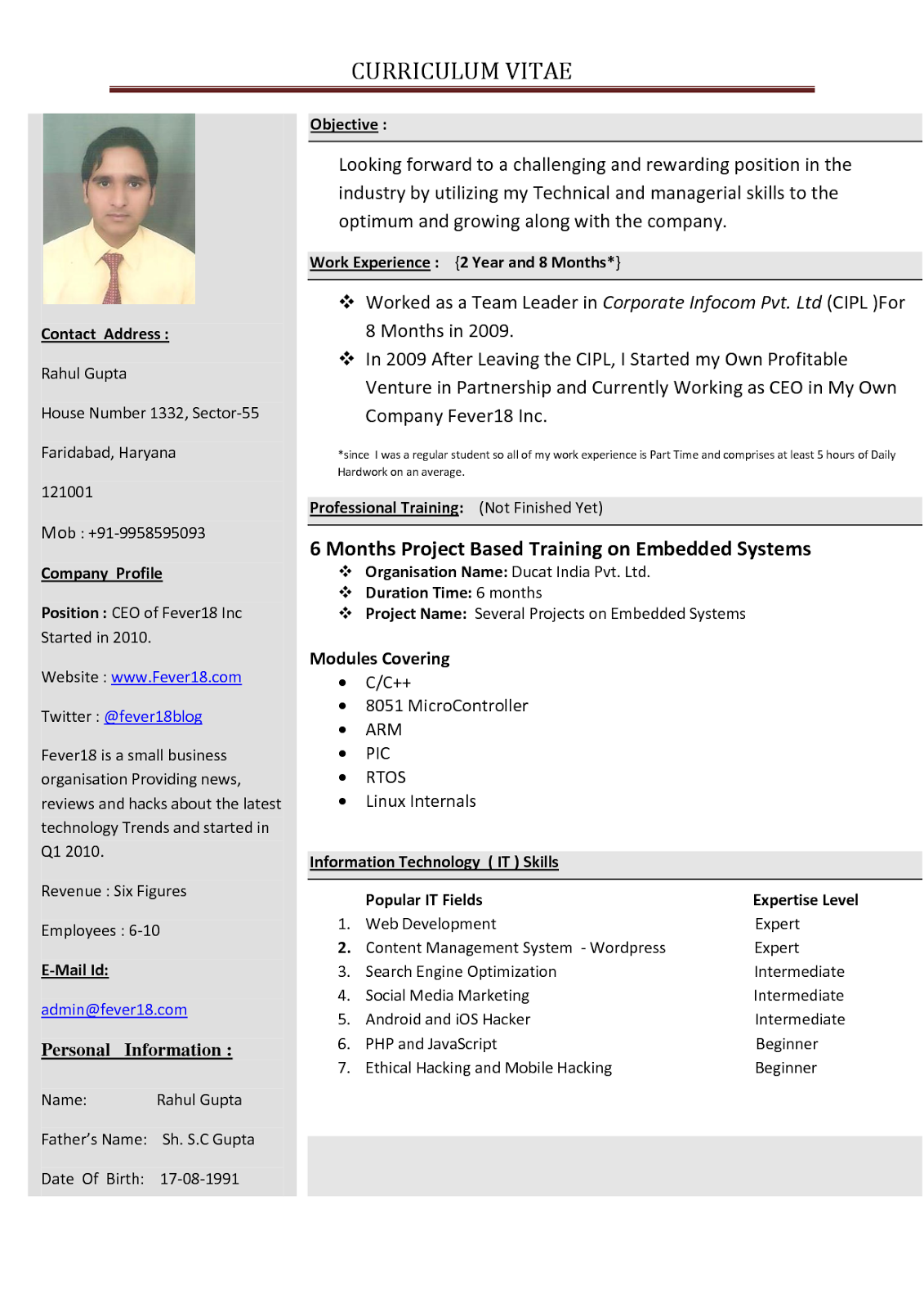 how to write a professional resume free