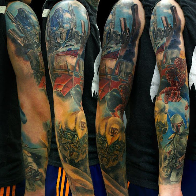 Spiderman and transformers blend tattoo tattoo geek for How to blend tattoos into a sleeve