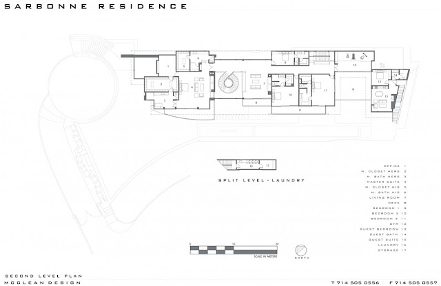 Second floor plan of modern home in Los Angeles