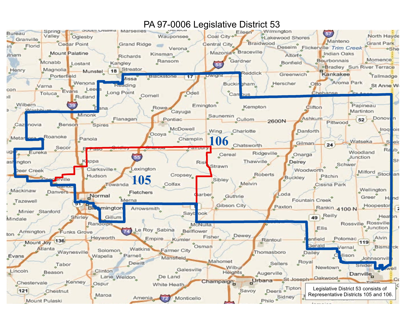 map of realigned illinois state senate district 53 and state representative districts 105 and 106