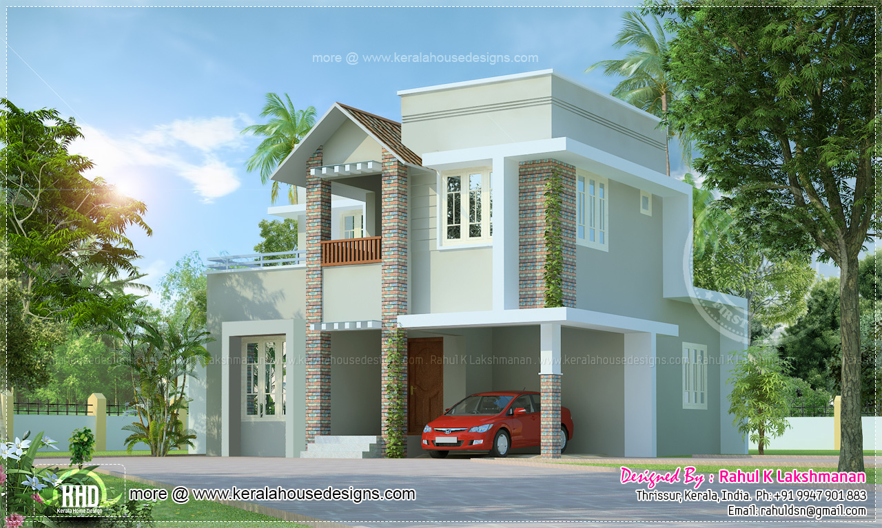 Small cute villa in 1354 square feet home kerala plans for Small villa plans in kerala