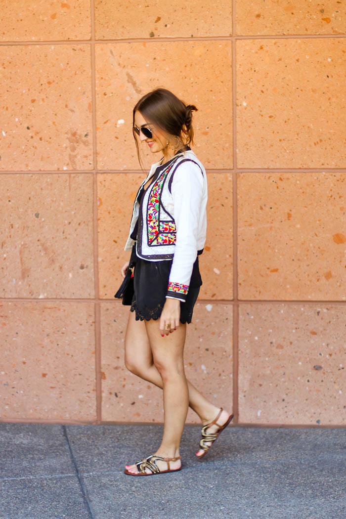 asos outfit, asos jacket, black shorts, flat sandals