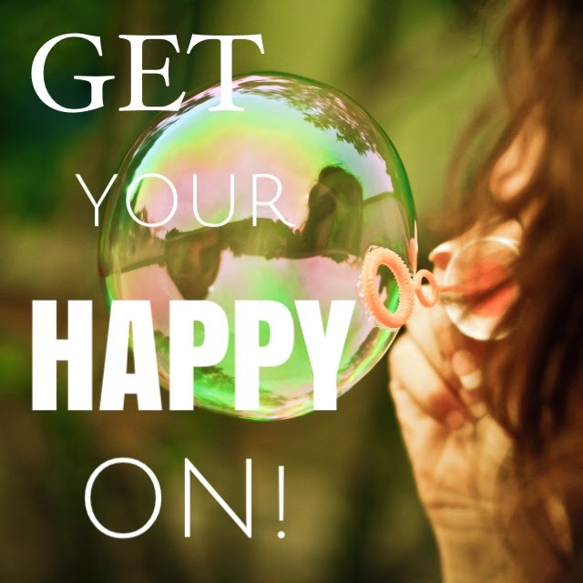 "Picture of girl blowing bubble with words ""Get Your Happy On"""
