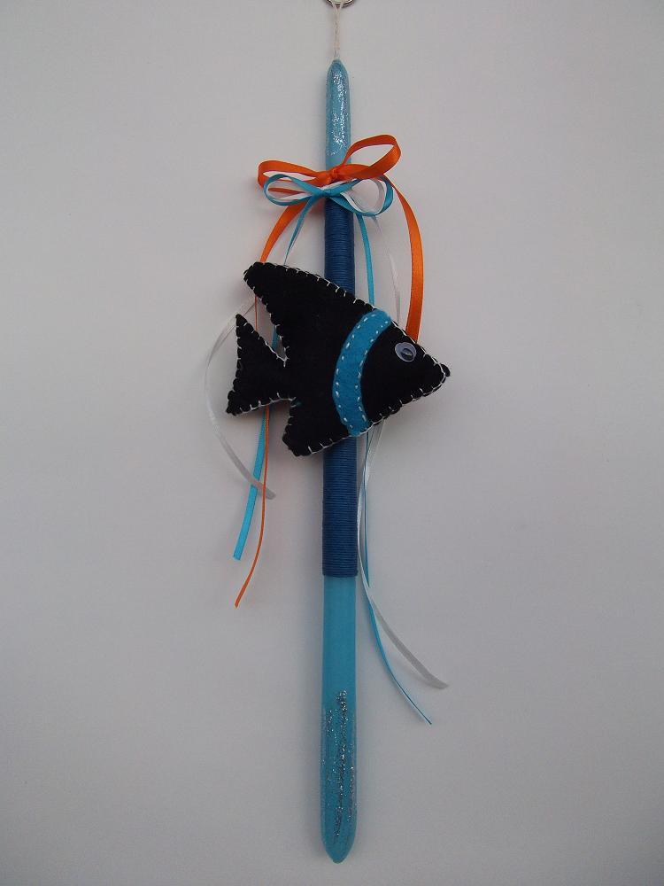 Λαμπάδα σε γαλάζιο τόνο με μαύρο