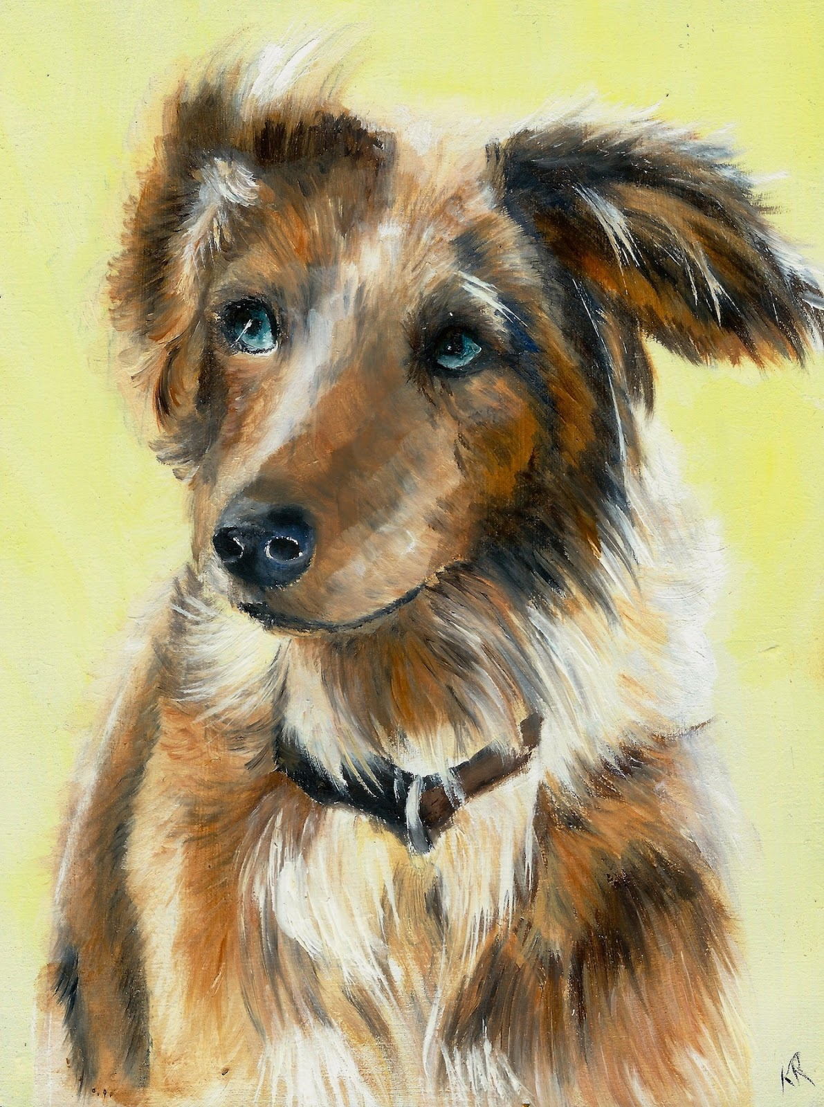 blue merle collie, oil painting, dog with blue eyes, a pet portrait by karen