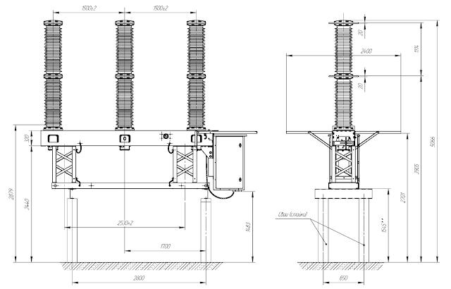 Габаритные, установочные и присоединительные размеры выключателей вакуумных типа ВРС-110