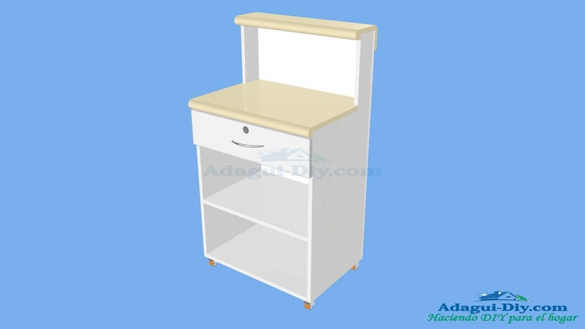 Mueble de cocina para microondas con gaveta web del bricolaje dise o diy - Muebles auxiliares para microondas ...