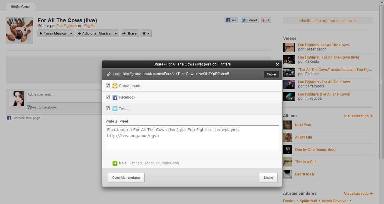 Ah, e tem o botão 'Compartilhar Música' que permite, mostrar ao