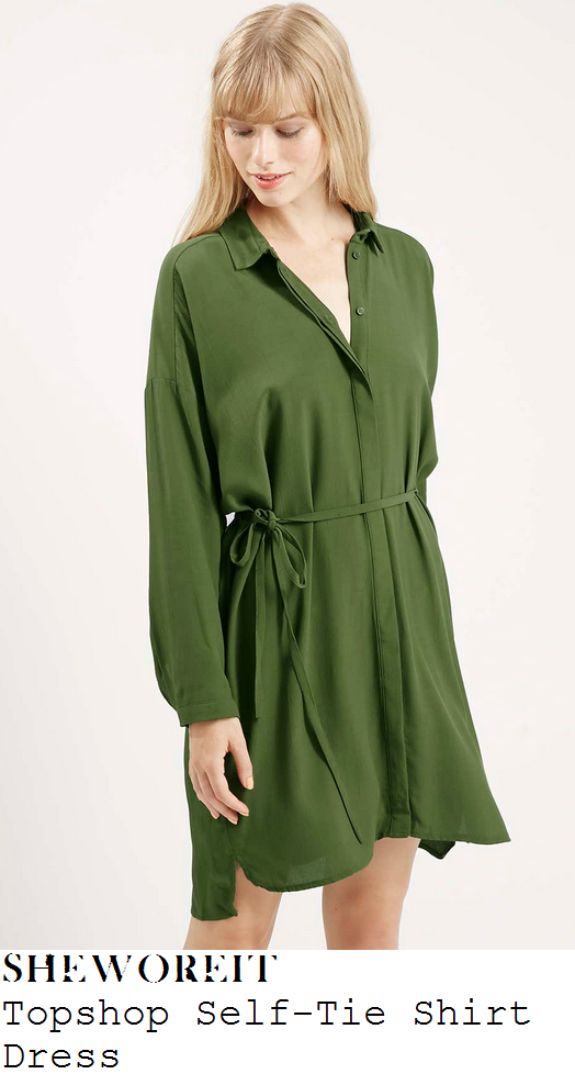 jesy-nelson-khaki-green-tie-detail-shirt-dress