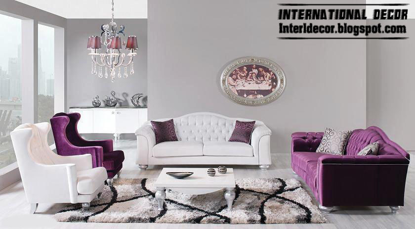Modern Luxury Living Room Furniture Purple And White Sofas And Chairs Part 98
