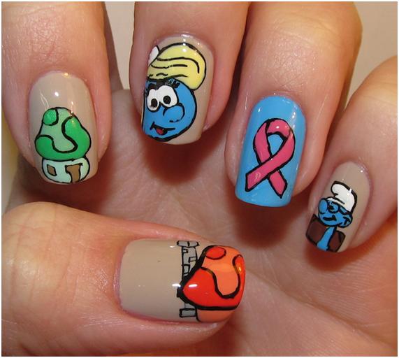 Como fazer unhas decoradas dos smurfs