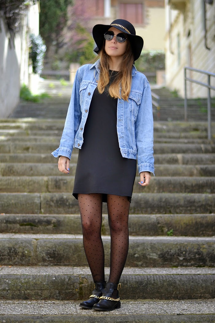 little black dress denim jacket