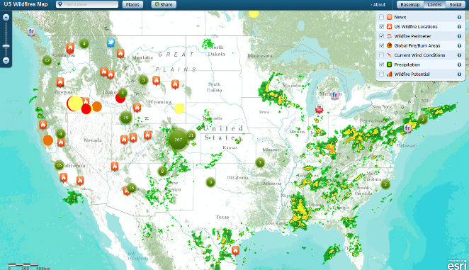 US Wildfire Map GIS Lounge The Age Of Western Wildfires Climate - Us wildfires google map