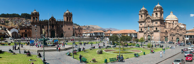 A panoramic photograph of the Plaza de Armas in Cusco, Peru