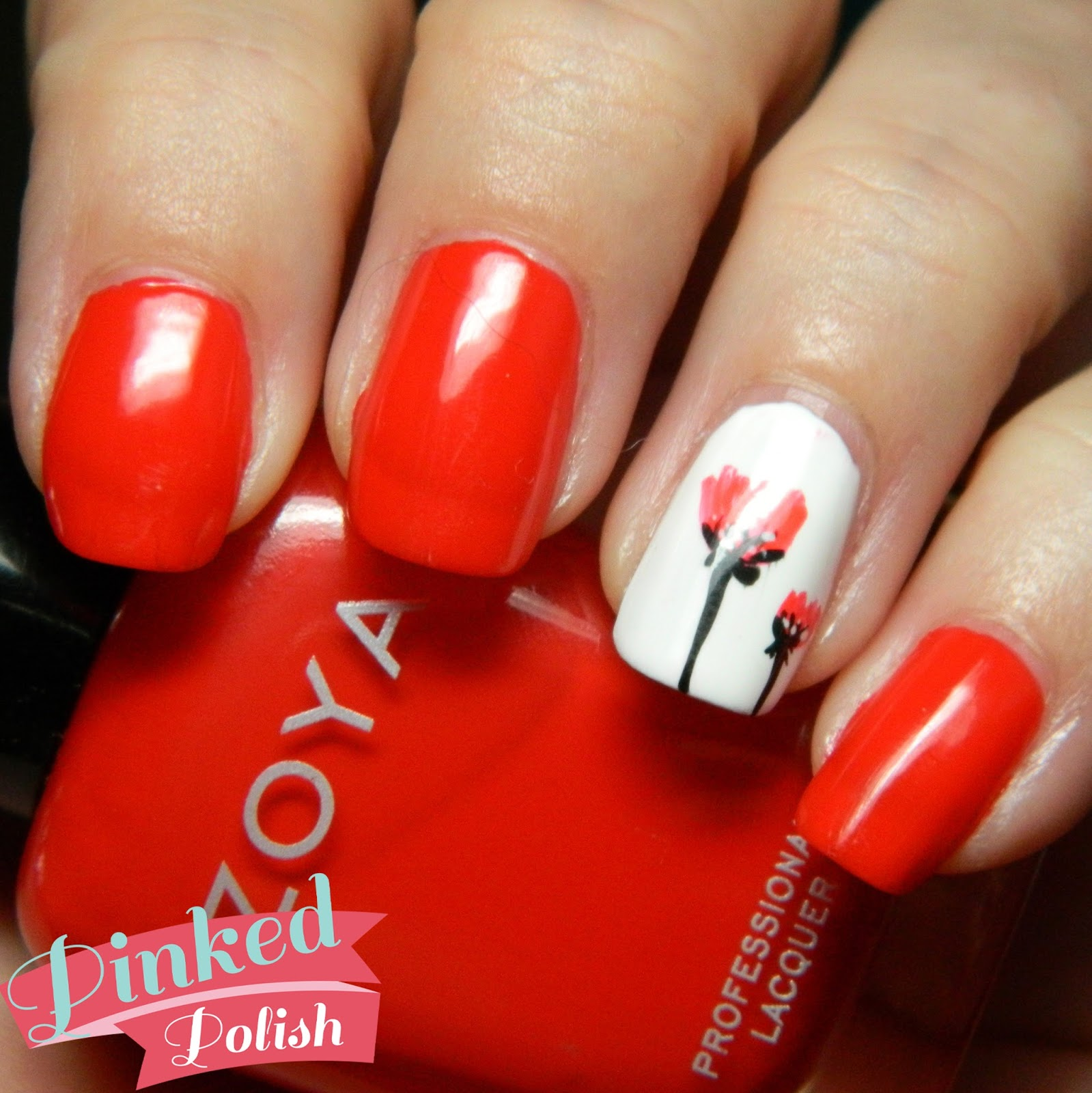 Black Poppy Nail Polish: Pinked Polish: Poppy Accent Nail