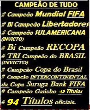 INTER É O MAIOR VENCEDOR DO SUL: 93 TÍTULOS OFICIAIS / CONTRA 77 DO GRÊMIO.