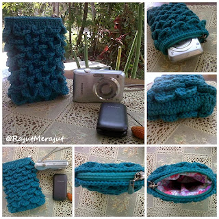 Ponsel Pouch with Crocodile Stitch, Kantong HP Rajut, Rajut Merajut, Tusuk Buaya, Crocodile Stitich