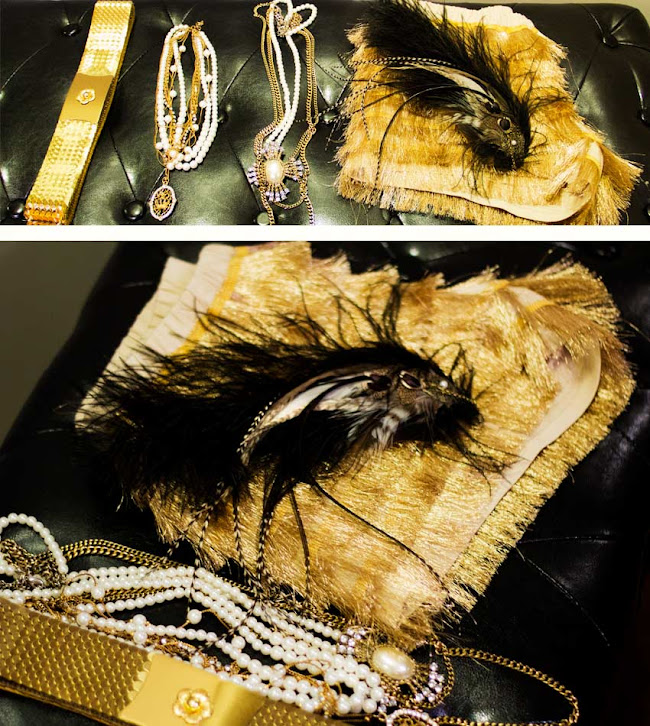 Dropping for design, dropping form design feather hair comb, sparkle and fade gold tassle shorts, sparkle and fade from urban outfitter, vintage gold scale elastice belt, multistrand forever 21 gold and pearl necklace, gold necklaces, gold accesories, feather hair comb
