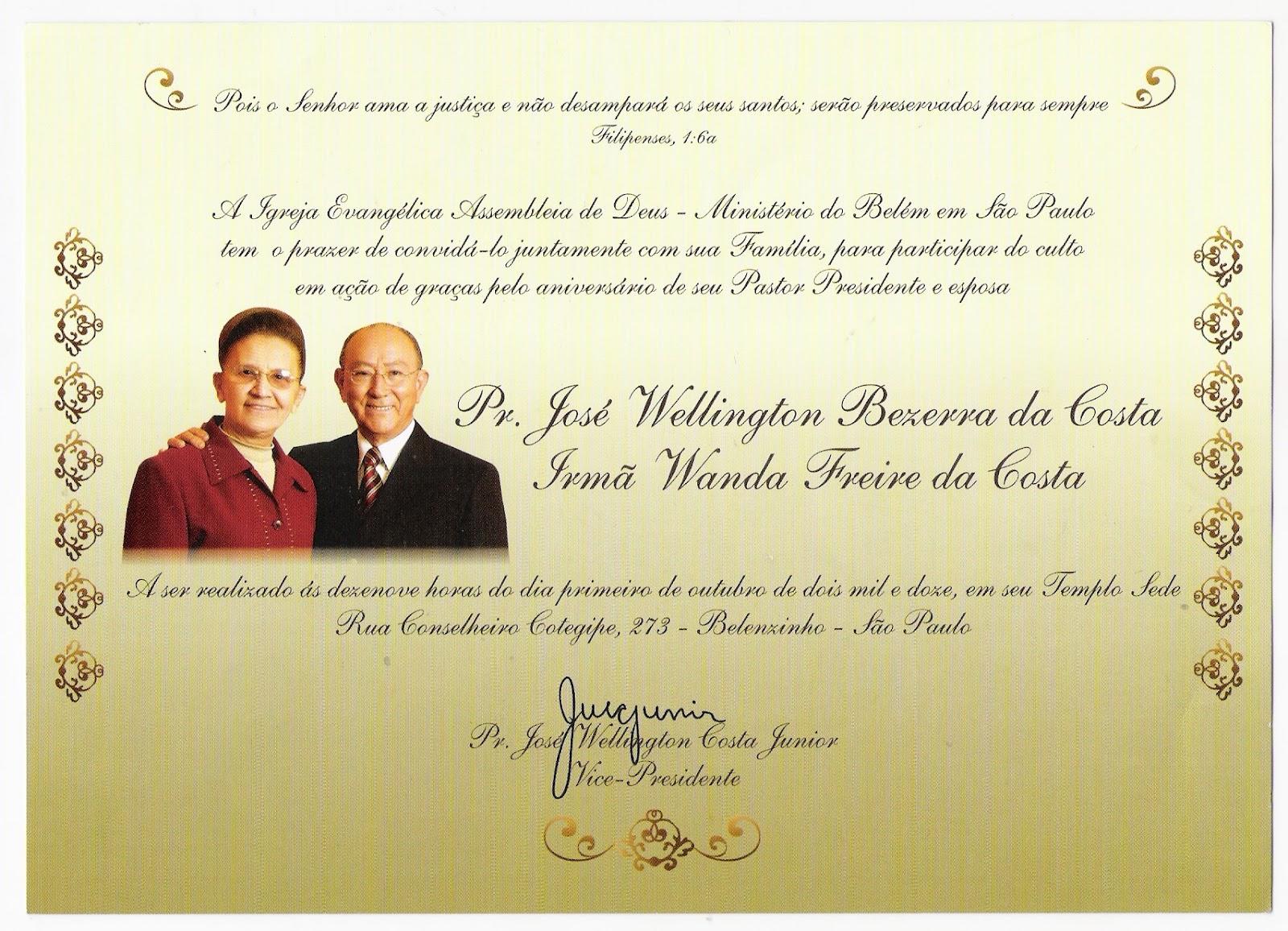 Pastor Juarez Lima Convite Aniversário Do Pastor Jose Wellington