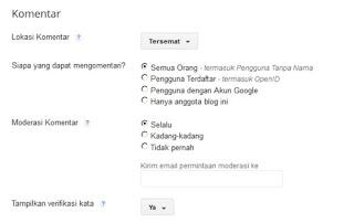 Cara Mengatur Setingan Komentar di blogspot agar bebas spammer