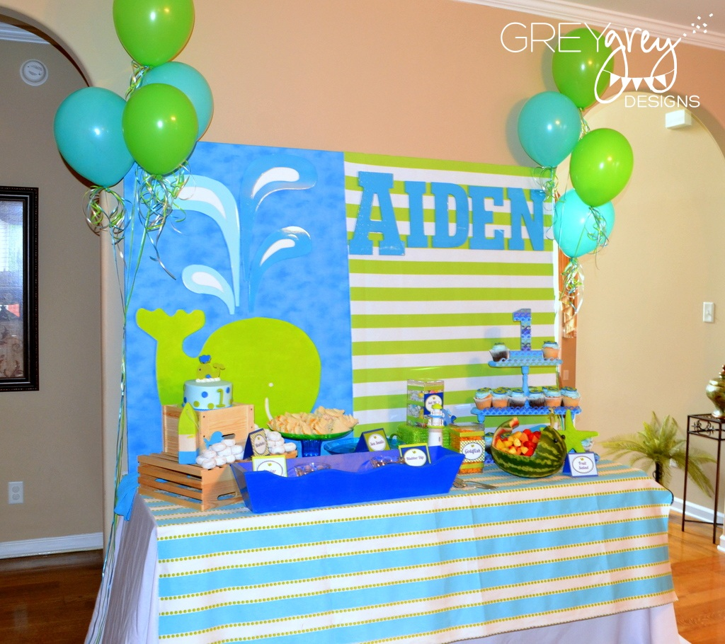 GreyGrey Designs My Parties Aidens Green Whale 1st Birthday Party