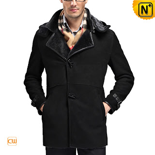 Men Black Sheepskin Coat