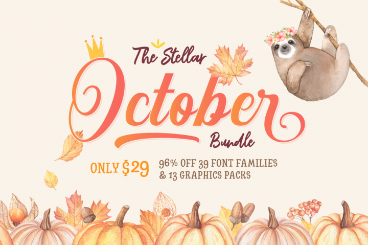 The Hungry JPEG. Use code OCT20 to receive 20% off the Stellar October bundle