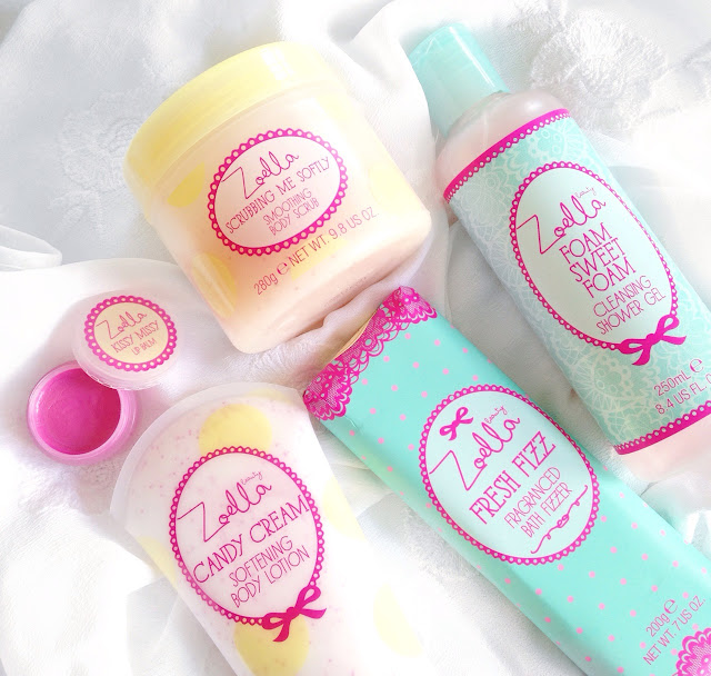 Zoella beauty, tutti fruity collection, kissy missy lip balm, scrubbing me softly smoothing body scrub, foam sweet foam cleansing shower gel, candy cream softening body lotion, fresh fizz fragranced bath fizzer