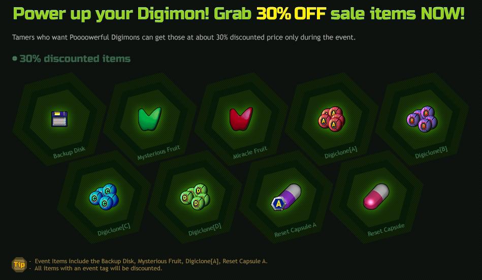 02. Aumente o poder dos seus Digimons!! Vários itens com 30% de