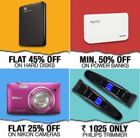 Flat 25% Off on Nikon Point & Shoot Camera | Flat 43% Off on 2.5 inch 1 TB External Hard Drive | Min 50% Off on Power Bank | Philips QT4001/15 Trimmer For Men for Rs.1025 Only @ Flipkart