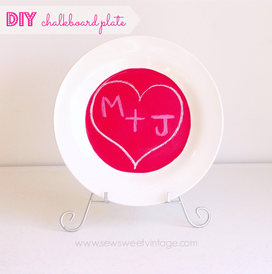 how to make a chalkboard plate for Valentine's Day