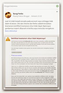 Sertifikat keamanan situs tidak dipercaya