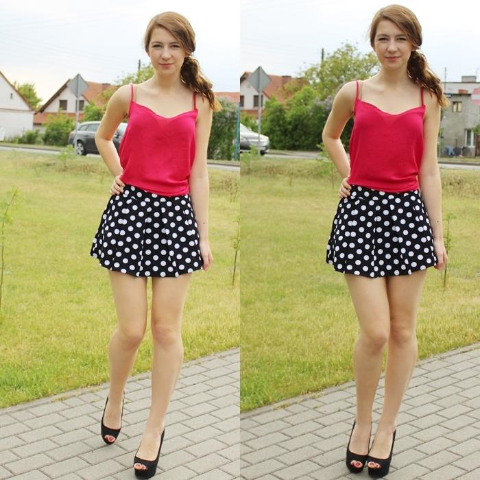 spódniczka mini / szorty w groszki kropki