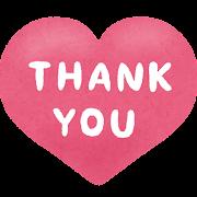 ハート型の「Thank You」のイラスト文字