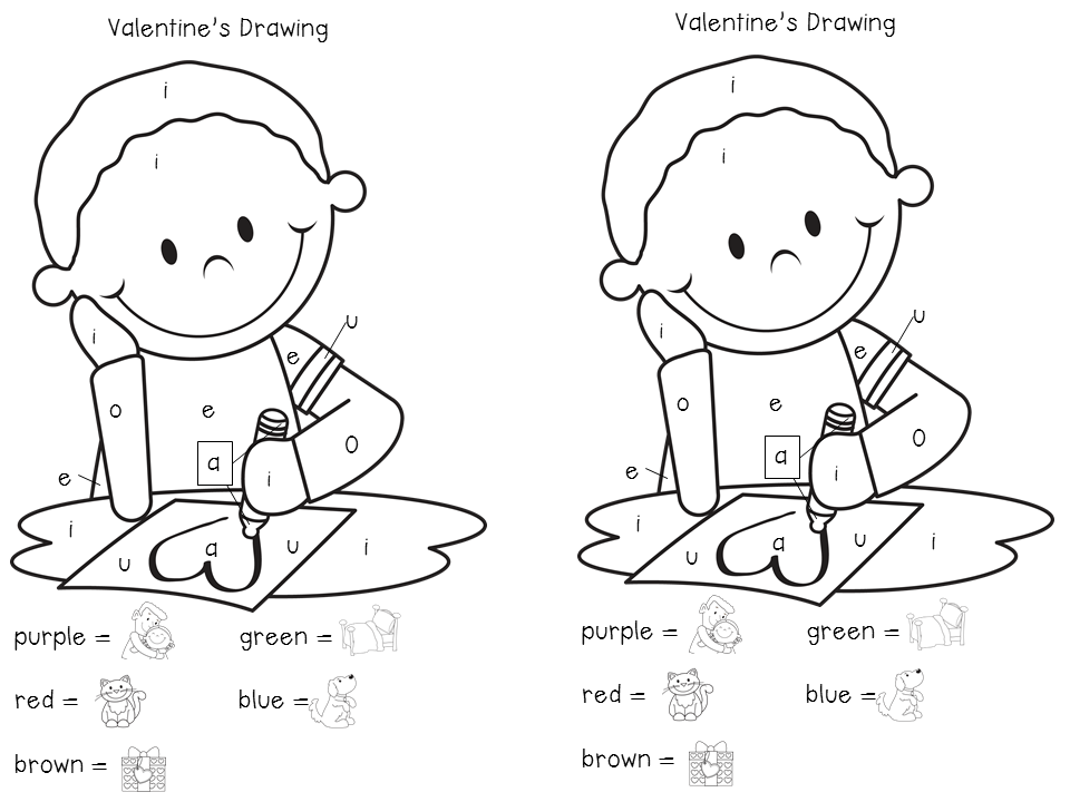 Coloring Pages For Vowels : Kindermyles we heart vowels